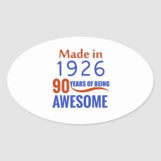 90 birthday design oval sticker