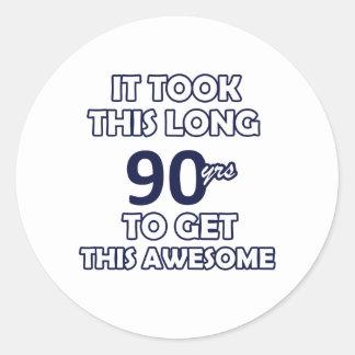 90 birthday design round sticker