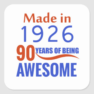 90 birthday design square sticker