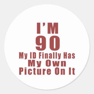 90 Birthday Designs Classic Round Sticker