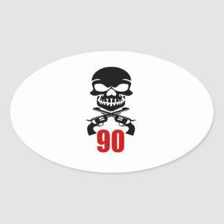 90 Birthday Designs Oval Sticker