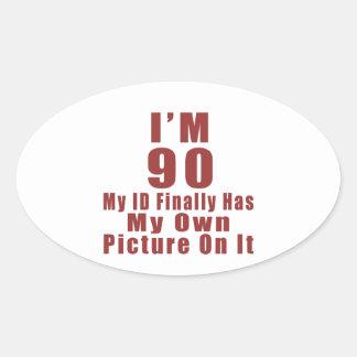 90 Birthday Designs Oval Sticker