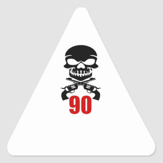 90 Birthday Designs Triangle Sticker