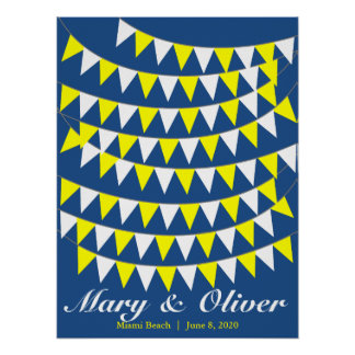 90 Bunting Yellow Wedding Guest Book Alternative Poster
