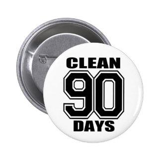 90 days  clean black 6 cm round badge