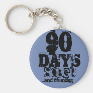 90 Days Sobriety Key Ring