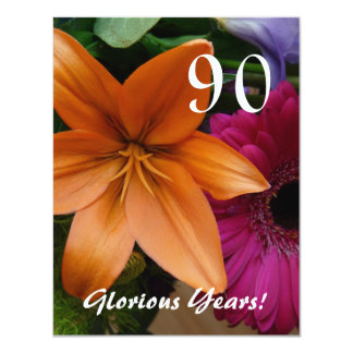 """90 Glorious Years!-Birthday Party/Orange Lily 4.25"""" X 5.5"""" Invitation Card"""