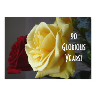 """90 GloriousYears!-Birthday/Yellow Rose(with quote) 5"""" X 7"""" Invitation Card"""