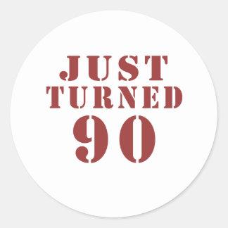 90 Just Turned Birthday Classic Round Sticker