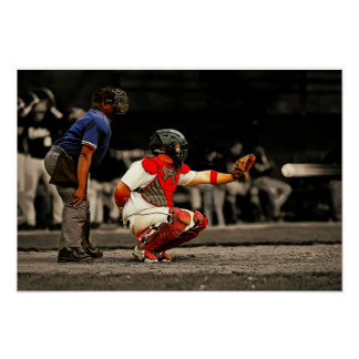 90 MPH Baseball Heading Towards Catcher and Ump Poster