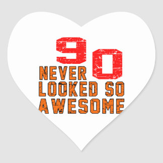 90 never looked so awesome heart sticker