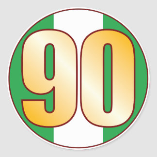 90 NIGERIA Gold Round Sticker