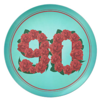 90 number birthday anniversary 90th roses plate