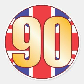 90 UK Gold Round Sticker