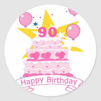 90 Year Old Birthday Cake Classic Round Sticker