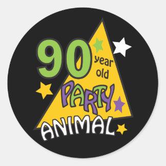 90 Year Old Party Animal | 90th Birthday Round Sticker