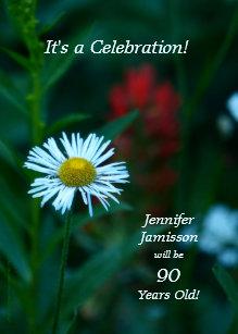 90 Years Old Birthday Party Invites White Daisy