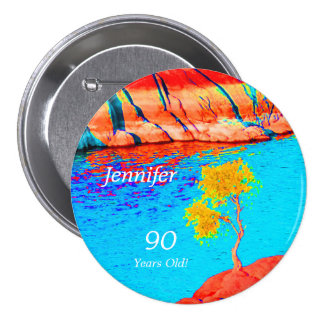 90 Years Old, Colorful Landscape Button Pin
