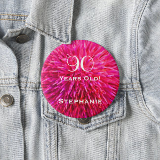 90 Years Old Personalized Hot Pink Abstract Pin