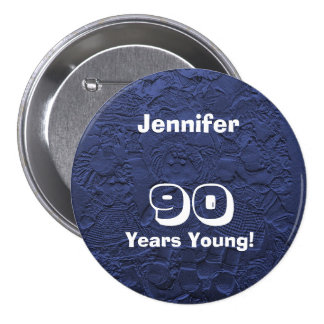 90 Years Young Blue Dolls Pin Birthday Gift