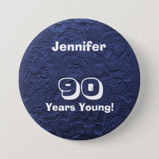 90 Years Young Dark Blue Dolls Pin Birthday Gift