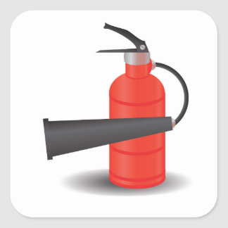 90Fire Extinguisher_rasterized Square Sticker