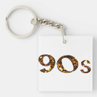 90s Nostalgia Gold Glitter Key Ring