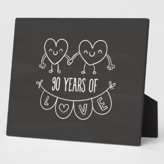 90th Anniversary Gift Chalk Hearts Display Plaques
