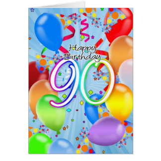 90th Birthday - Balloon Birthday Card - Happy Birt
