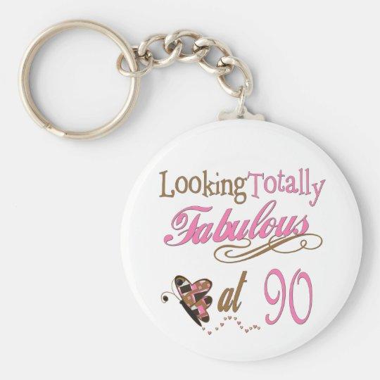 90th Birthday Basic Round Button Key Ring