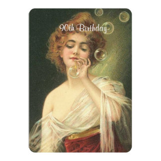 90th Birthday, Beautiful Victorian Woman, Custom Card