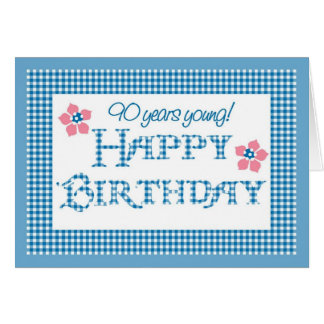 90th Birthday, Blue Check Gingham Pattern Card