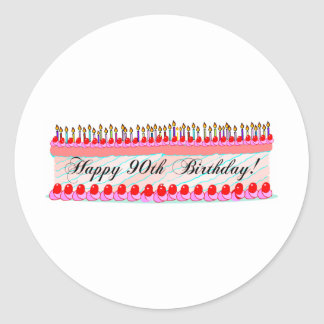 90th birthday cake round sticker