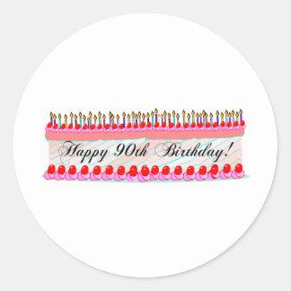 90th birthday cake round sticker