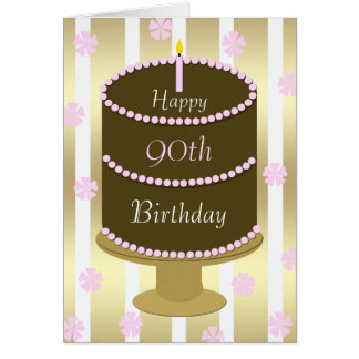 90th Birthday Card Cake in Pink