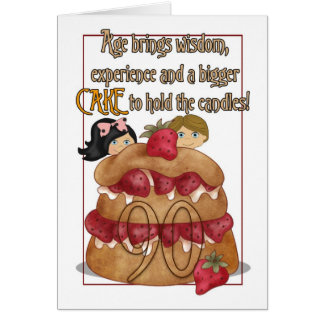 90th Birthday Card - Humour - Cake
