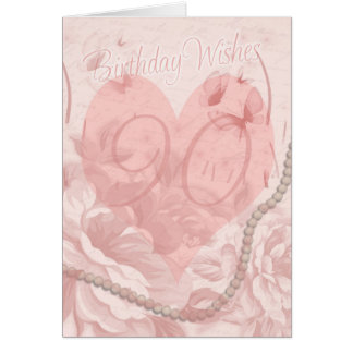 90th Birthday Card, Pink Floral, Heart With Butter Card