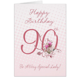 90th Birthday Card - Pink Roses - To A Very Specia