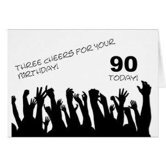 90th Birthday card with a cheering crowd