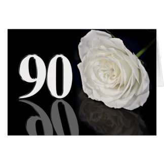90th Birthday Card with a classic white rose