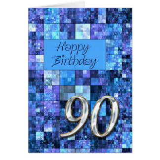 90th Birthday card with abstract squares.