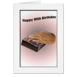 90th Birthday Card with Aged Hands and Bible