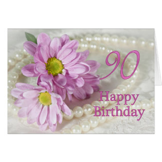 90th Birthday card with daisies