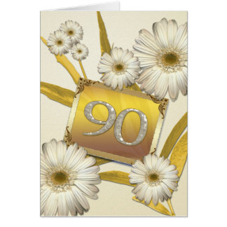 90th Birthday card with daisies.
