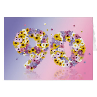 90th birthday card with flowery letters