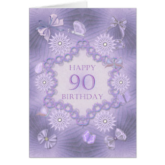90th birthday card with lavender flowers