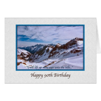 90th Birthday Card with Snowy Mountains