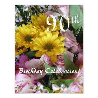 90th Birthday Celebration!-Party/Floral Bouquet 11 Cm X 14 Cm Invitation Card