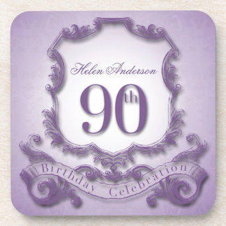 90th Birthday Celebration Personalized Drink Coasters