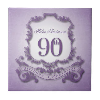 90th Birthday Celebration Personalized Tile